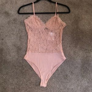 FOREVER 21 Nude/Cream/Blush Lace Bodysuit
